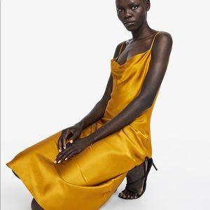 NWT Zara Mustard Yellow Satin Slip Dress